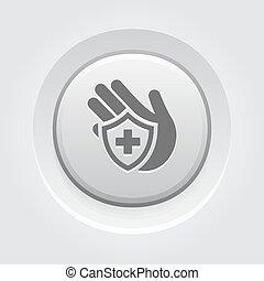 assicurazione, grigio, bottone, icon., design.