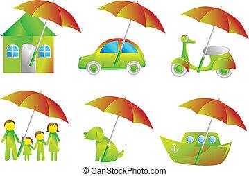 assicurazione, icone