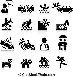 assicurazione, icone, set., vettore, illustration.