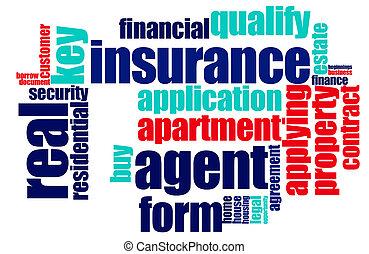 assicurazione, parola, nuvola