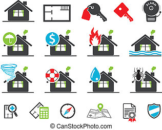 assicurazione, proprietà, icone