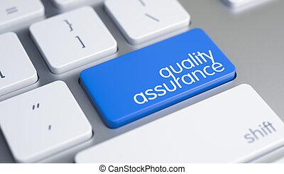assicurazione qualità, -, iscrizione, su, blu, tastiera, key., 3d.