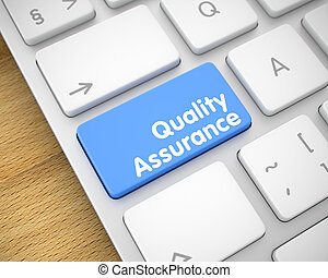assicurazione qualità, -, messaggio, su, blu, tastiera, keypad., 3d.