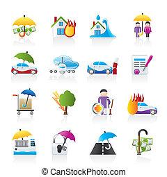 assicurazione, rischio, icone