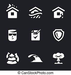 assicurazione, vettore, set, icons.