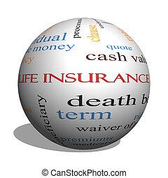 assicurazione vita, parola, nuvola, concetto, su, uno, 3d, sfera