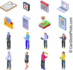 Assignment icons set. Isometric set of assignment vector icons for web design isolated on white background