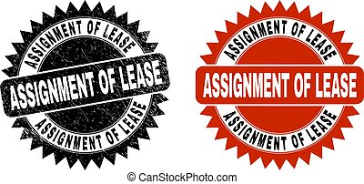 ASSIGNMENT OF LEASE Black Rosette Stamp Seal with Unclean Surface