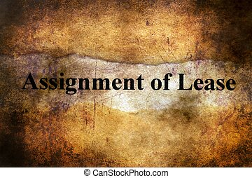 Assignment of lease text on torn paper