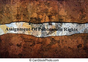 Assignment of publication rights text on wall
