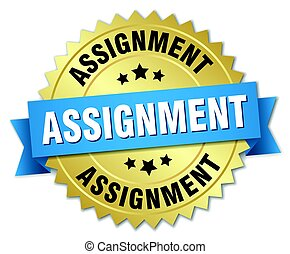 assignment round isolated gold badge