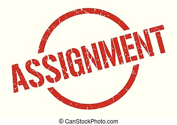 assignment red round stamp