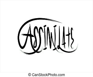 Assimilate Lettering Text on white background in vector illustration