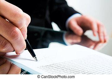 assinando documento, negócio