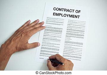assinando, emprego, contrato, homem