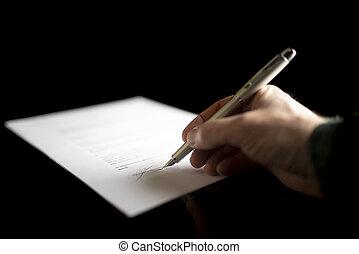 assinando, legal, closeup, papeis, homem negócios, documento, ou