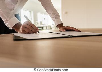assinando, legal, seguro, homem negócios, documento, ou