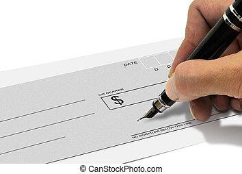 assinando, mão, caneta, cheque