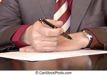 assinando, mão