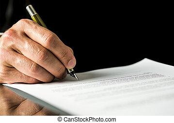 assinando, macho, legal, mão, papeis, contrato, testamento, documento, emprego, ou