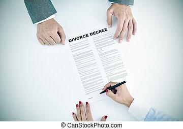 assinando, mulher, divórcio, jovem, decreto, documento