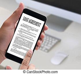 assinando, negócio, apoio, acordo, documento, empréstimo