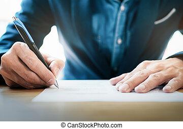 assinando, negócio, cima, contrato, homem negócios, fim, fazer