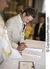 assinando, noivo, casório, signature., registo