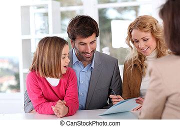 assinando, real-estate, contrato, família