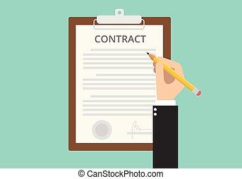 assinando, sinal, contrato, papel, documento