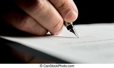 assinando, tiro, docum, mão, macro, escrito homem negócios, ou