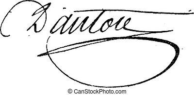assinatura, de, georges, jacques, danton, (1759-1794),...
