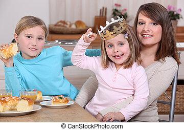 assis, cuisine, fille, mère