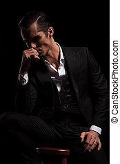 assis, pensée, homme affaires, noir