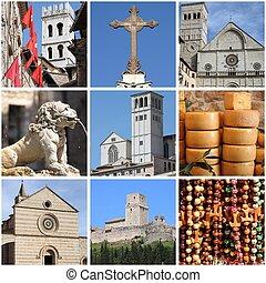 Assisi landmarks collage