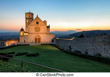 Assisi (Umbria) Basilica di San Francesco at sunset