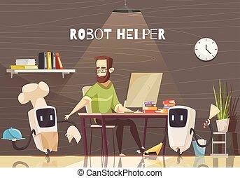 assistência, dispositivos, caricatura, ilustração, robotic