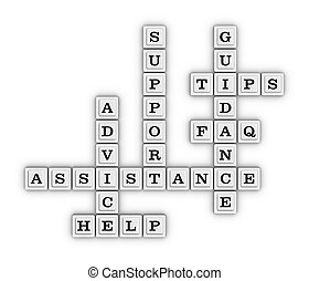 Assistance, Advice, Support, Guidance, Faq, Tips, Help Crossword Puzzle.