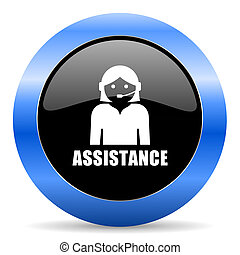 Assistance black and blue web design round internet icon with shadow on white background.