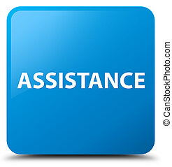 Assistance cyan blue square button
