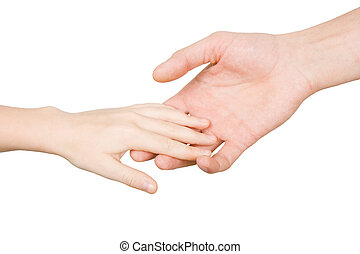 assistance for the child - child's hand reaches for the male...