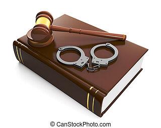assistance., gerechtelijk, handcuffs, boek, wettelijk,...