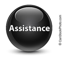 Assistance glassy black round button