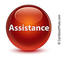 Assistance glassy brown round button
