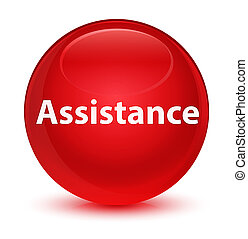Assistance glassy red round button