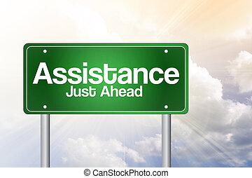 assistance, juste, devant, vert, panneaux signalisations, concept