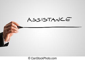 assistance, mot, écran, virtuel, écriture