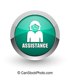 Assistance silver metallic chrome web design green round internet icon with shadow on white background.