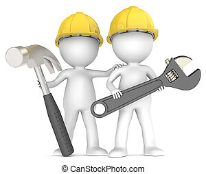 Assistance. - 3D little human character The Builders X2 with...