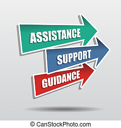 assistance, support, guidance in arrows, business concept words, flat design